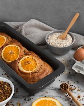 Composição de receita saudável com laranjas