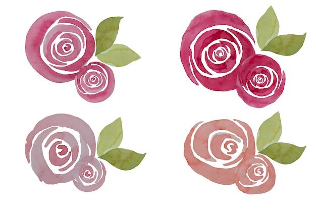 Composição de rosas aquarela rosa, ilustração. elegantes flores pintadas à mão.