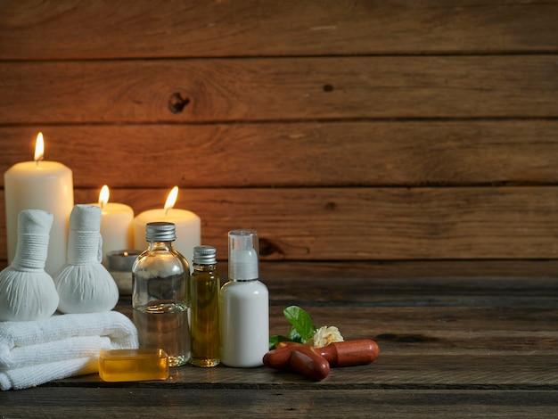 Composição de spa com óleo de coco virgem.