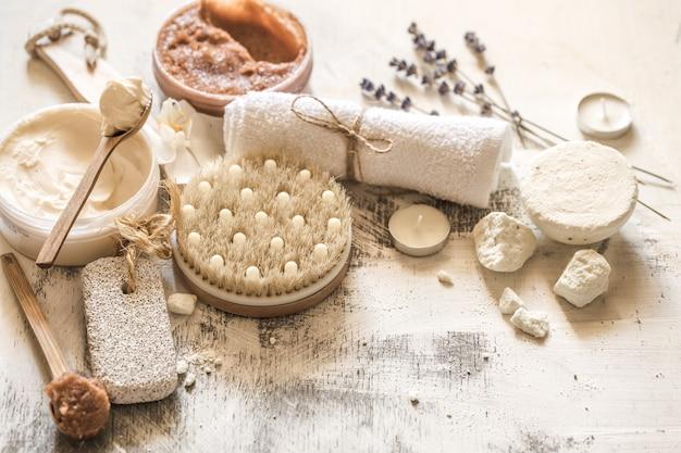 Composição de spa de objetos