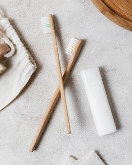 Composição de spa para escovas de dente naturais de estilo de vida saudável