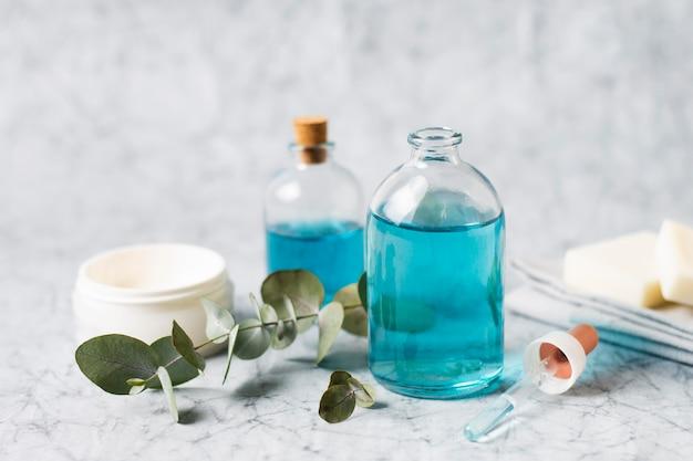 Composição de spa para óleo de corpo azul de estilo de vida saudável