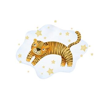 Composição de tigres e estrelas em aquarela