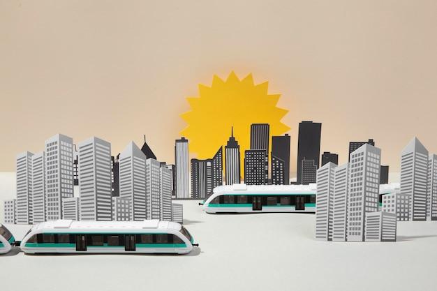 Composição de transporte público de vista frontal