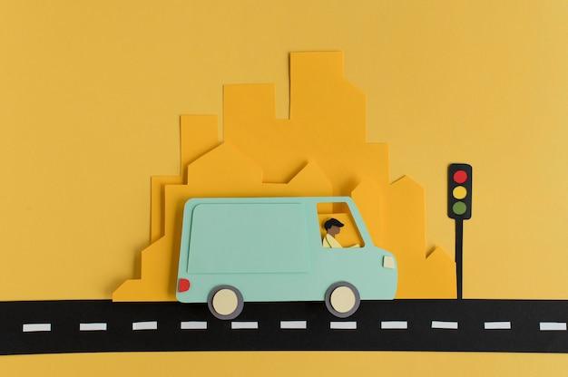 Composição de transporte urbano de papel