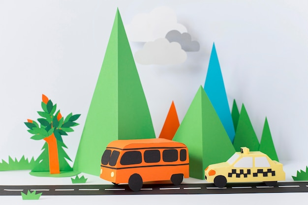 Composição de transporte urbano em papel de natureza morta