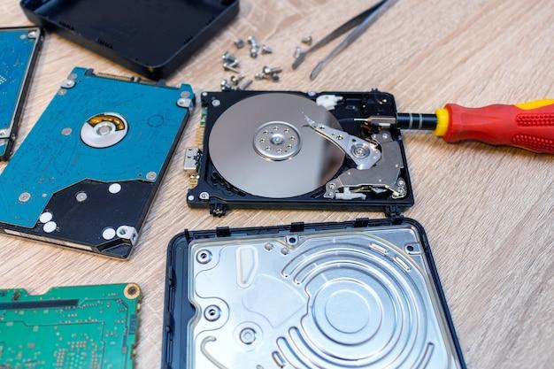 Composição de unidades de disco rígido quebradas em um conceito de serviço de recuperação de reparo fechar o foco seletivo