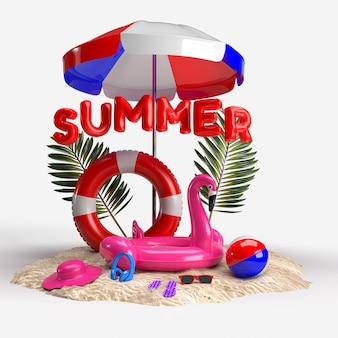 Composição de verão com acessórios de praia