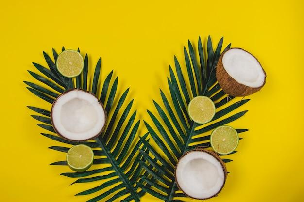 Composição de verão com cocos, limas e folhas de palmeira