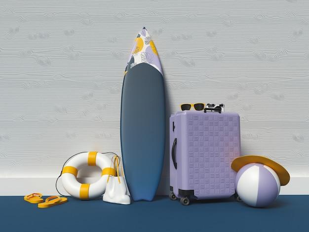 Composição de verão com elementos de praia. conceito de férias de verão