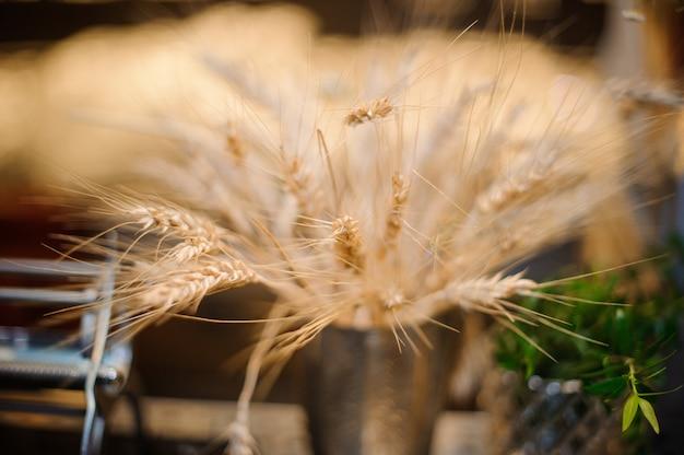 Composição decorativa de espigas de trigo secas