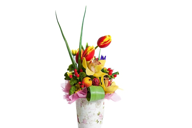 Composição do buquê de flores para o feriado da primavera buquê de flores para o seu favorito