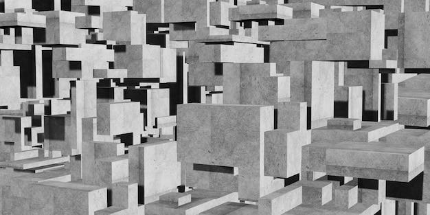 Composição do cubo polígono fundo arquitetônico abstrato geometria abstrata do concreto
