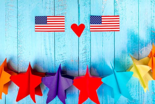 Composição do dia da independência com estrelas de papel