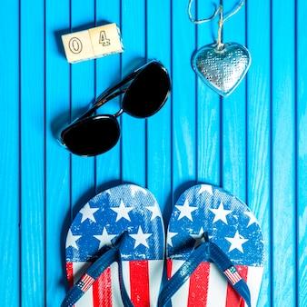 Composição do dia da independência com flip-flops