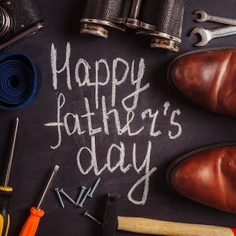 Composição do dia dos pais com ferramentas e sapatos