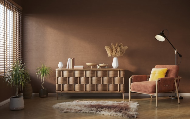 Composição do interior da sala de estar em cor marrom quente maquete do interior 3d render