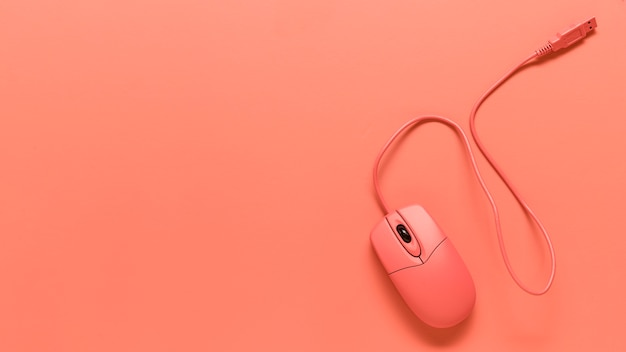Composição do mouse de computador fio usb rosa