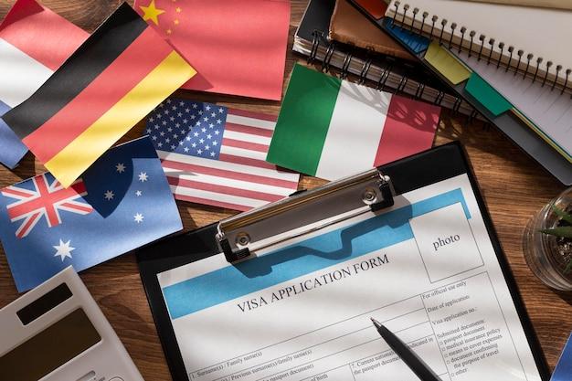 Composição do pedido de visto com diferentes bandeiras