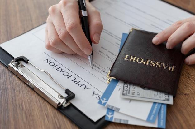 Composição do pedido de visto com passaporte