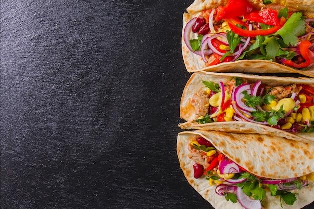 Composição do tacos mexicano