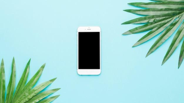 Composição do telefone móvel e folhas verdes