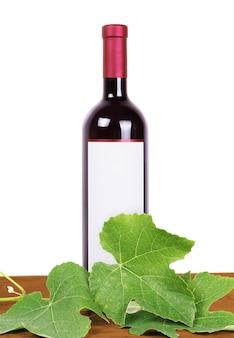 Composição do vinho: videira e garrafa de vinho