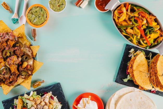 Composição dos pratos mexicanos salgados