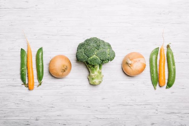 Composição dos vegetais verdes e laranja