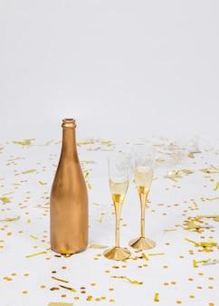 Composição festiva de champanhe