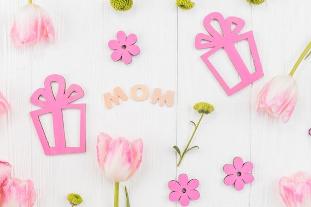 Composição festiva para a celebração do dia da mãe