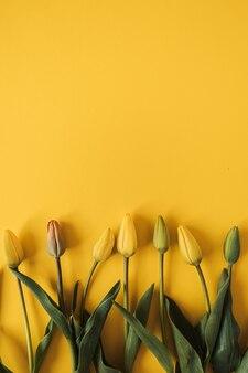 Composição floral com flores de tulipas em amarelo