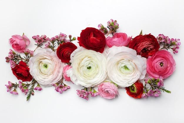Composição floral com flores rosa ranunculus em branco.