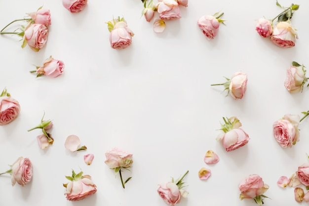 Composição floral com moldura de flores rosas cor de rosa em branco