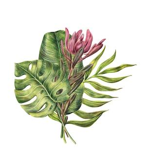 Composição floral de folhas de palmeira e flor protea