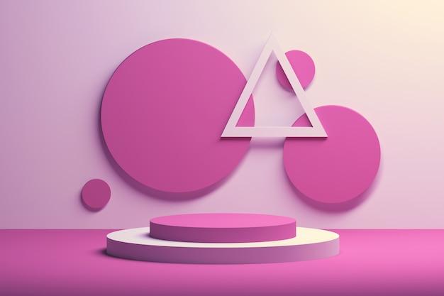 Composição geométrica simples com formas rosa e brancas