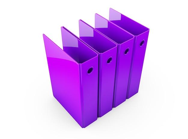 Composição horizontal multicolor do arquivo da pasta do escritório isolada no fundo branco renderização 3d