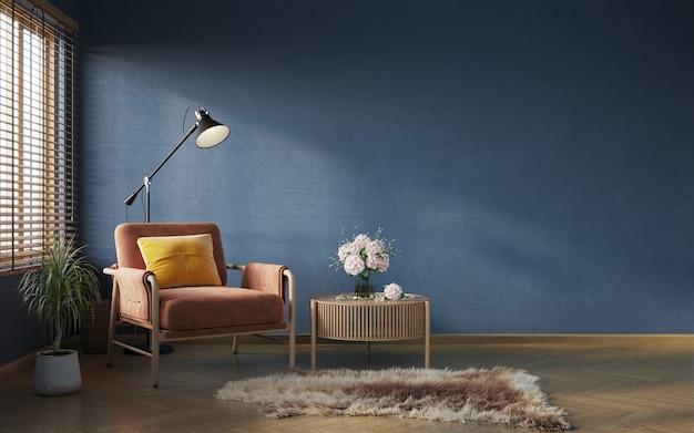 Composição interior da sala de estar no fundo da parede azul escuro maquete do interior 3d render