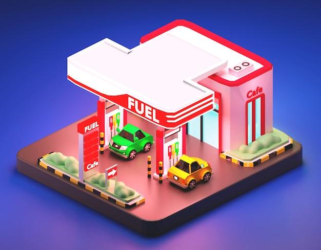 Composição isométrica de posto de gasolina. ilustração 3d