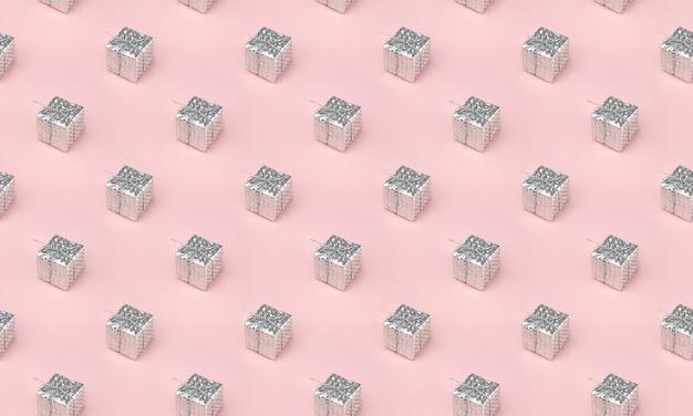 Composição mínima de fundo de caixas de presente de natal em rosa pastel. conceito mínimo de postura plana. presentes de natal, parabéns.