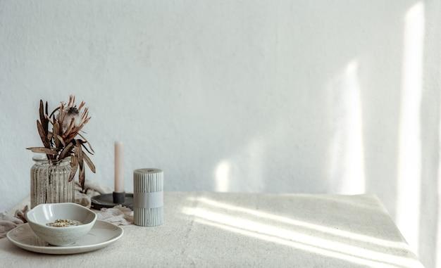 Composição minimalista com espaço de cópia de detalhes de decoração de casa escandinavos.