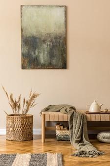 Composição moderna de sala de estar com design chaise longue, pinturas, cesto de vime com flores, bule de chá na bandeja e elegantes acessórios pessoais. concepção coreana elegante de decoração para casa.