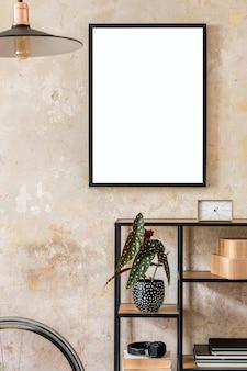 Composição moderna do interior da sala de estar com moldura preta, estante de livros, bicicleta hipster e acessórios pessoais. decoração elegante. parede de grunge. conceito wabi sabi ..