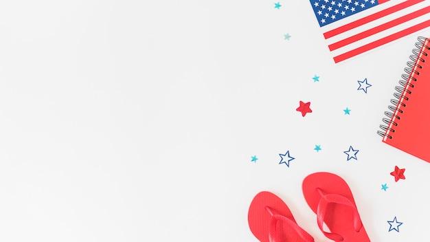 Composição nas cores da bandeira americana