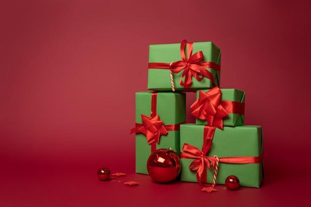 Composição natalina de caixas de presente