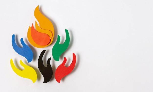 Composição olímpica de estilo jornal vista de cima