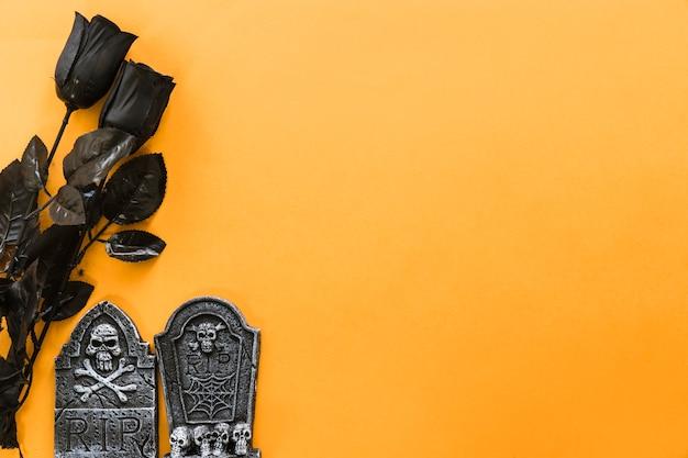 Composição para halloween com rosas pretas