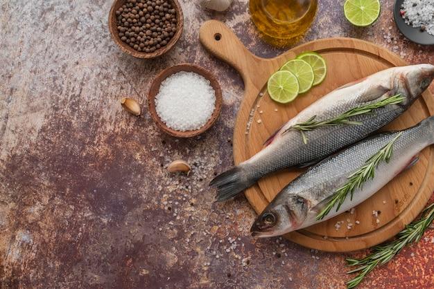Composição plana de frutos do mar deliciosos