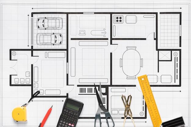 Composição plana leiga de diferentes elementos do projeto arquitetônico