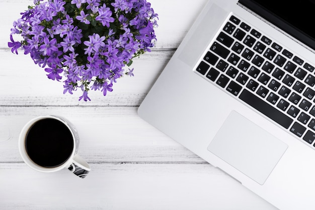 Composição plana leiga de flores e laptop